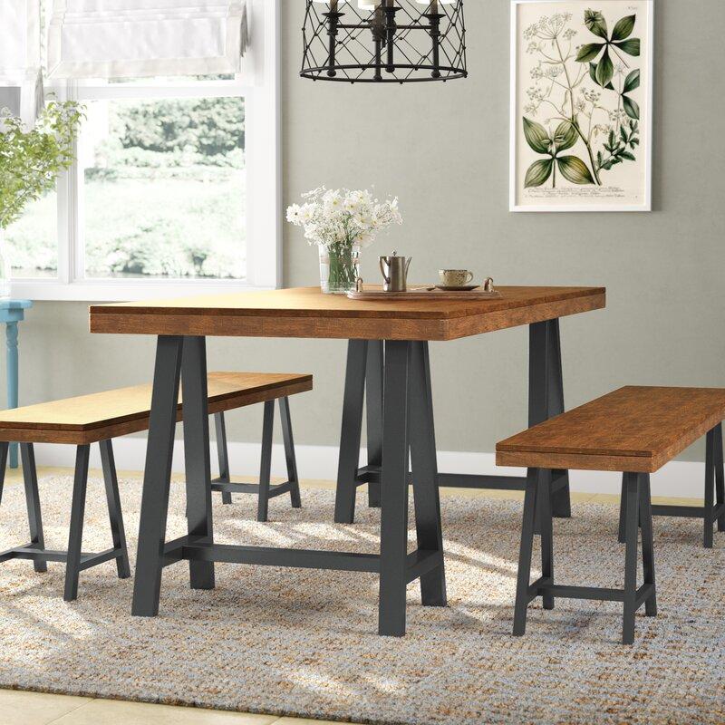 Gracie Oaks Mannino Wood Picnic 3 Piece Dining Set Wayfair