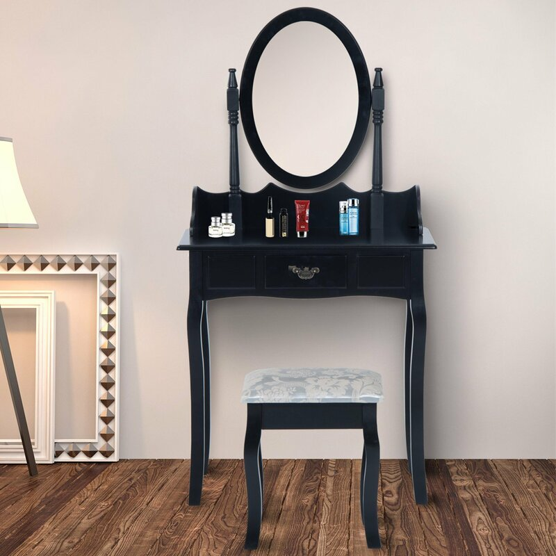 Wooden Makeup Jewelry Cosmetic Storage Drawer Padded Seat Dressing Table Set With Mirror