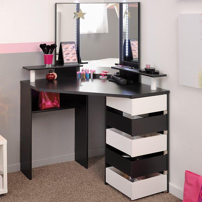 Gentil Black/White Diop Makeup Vanity With Mirror