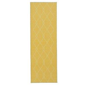 Vathylakas Diamond Trellis Yellow Area Rug