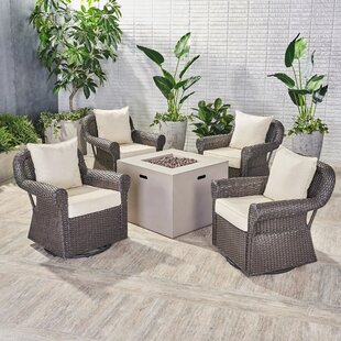 Nader Outdoor 5 Piece Rattan Sofa Seating Group with Cushions