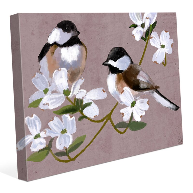 Click Wall Art Two Chickadees Painting Print On Wrapped Canvas Wayfair