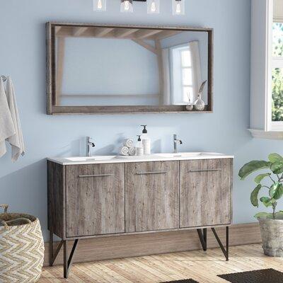 ellison nature wood 60 double bathroom vanity with mirror