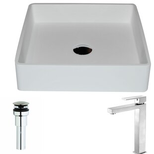 Best Price Passage Stone Square Vessel Bathroom Sink with Faucet By ANZZI