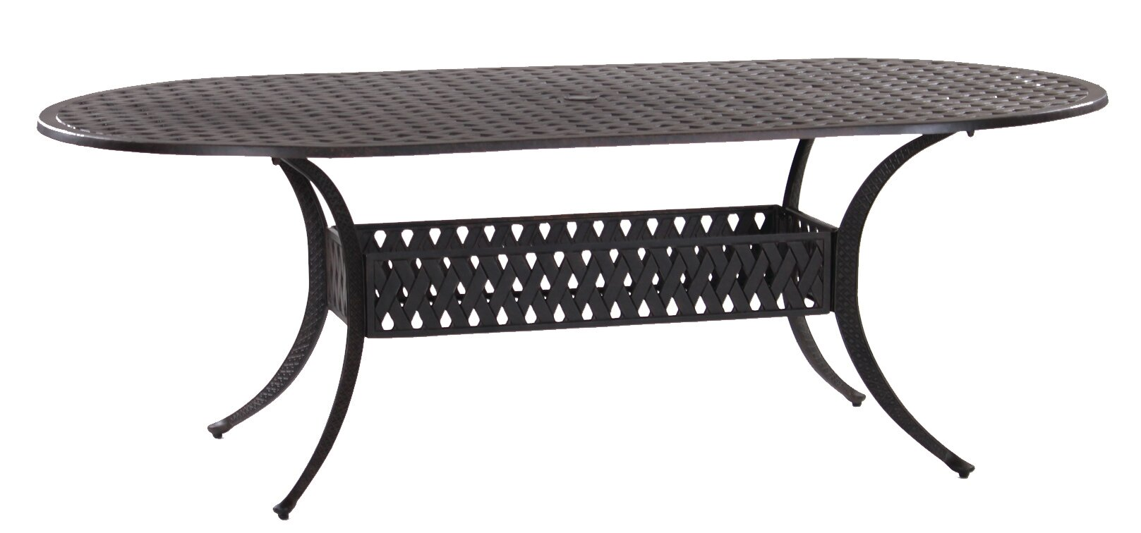 Amazing Basket Weave Oval Cast Aluminum Dining Table