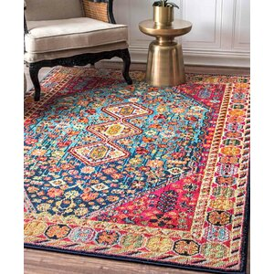 Azemmour Blue/Red Area Rug