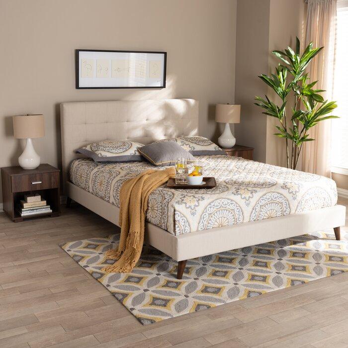 Johnsen Mid-Century Modern Fabric Upholstered Platform Configurable Bedroom  Set