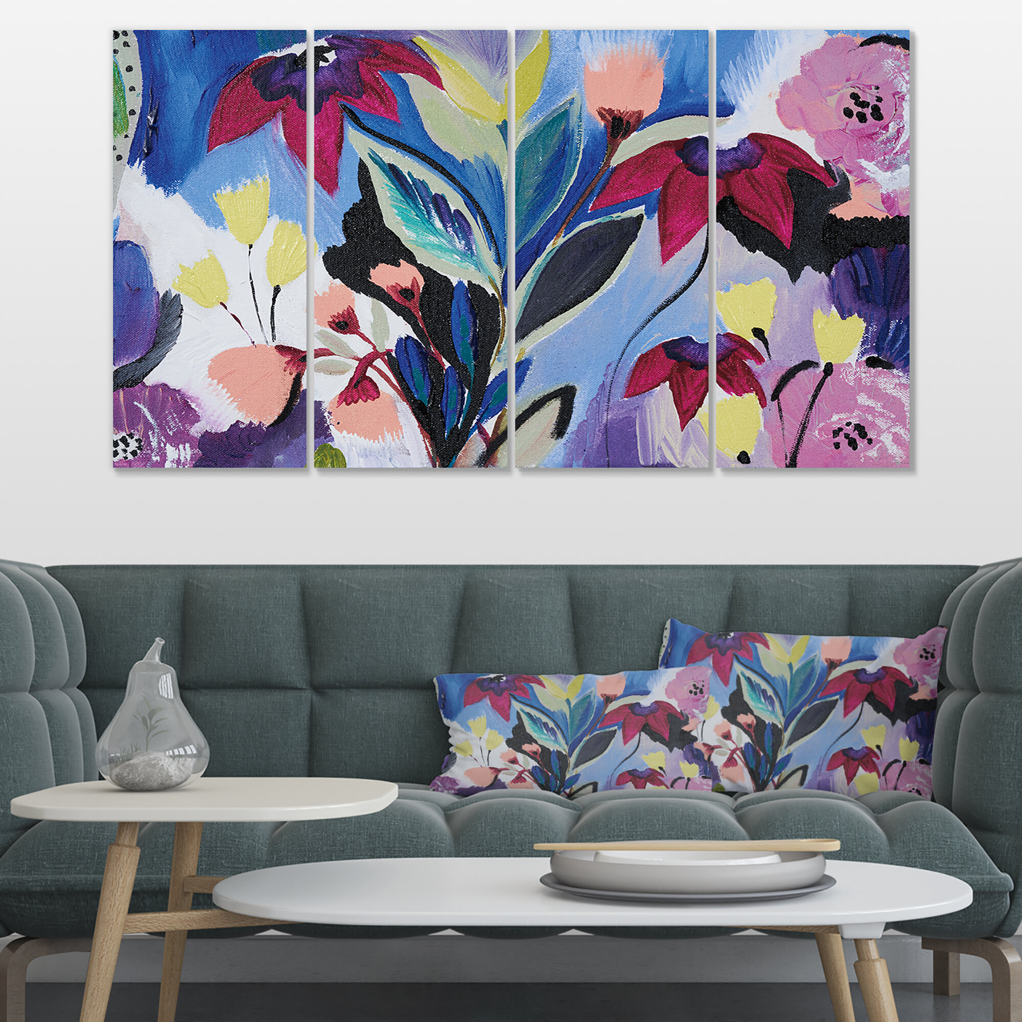 East Urban Home Blue And Purple Flower Composition Ii 4 Piece Wrapped Canvas Print Set Wayfair