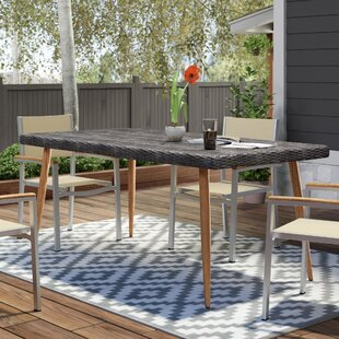 Erich Outdoor Wicker Rectangular Dining Table