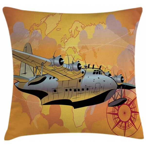 East Urban Home Ambesonne Vintage Airplane Throw Pillow Cushion Cover Retro Seaplane In The Sky World Map Compass Adventure Travelling Journey Decorative Square Accent Pillow Case 36 X 36 Multicolor Wayfair Ca