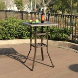 Caruthers Patio Outdoor Frosted Surface Square Cast Aluminum Bistro Table