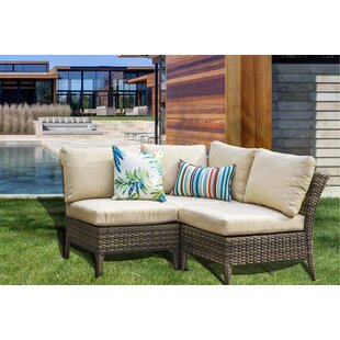 Southall Outdoor 3 Piece Rattan Sectional Seating Group with Cushions