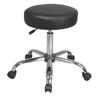Hathcock Chrome Finish Backless Drafting Chair with Vinyl Seat