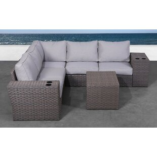 Cody 8 Piece Rattan Sectional Seating Group with Cushions by Rosecliff Heights