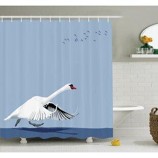 Swan Wildlife Animal Shower Curtain Set
