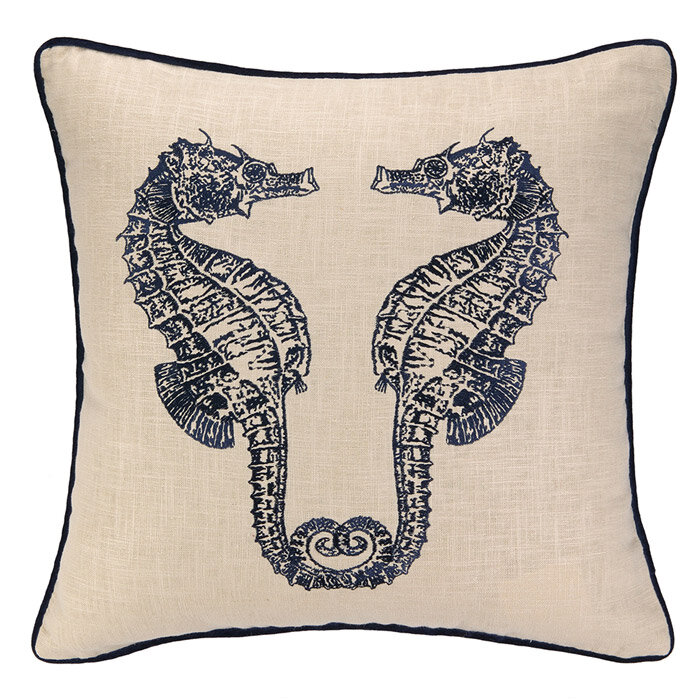 D L Rhein Double Seahorse Linen Throw Pillow Wayfair
