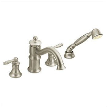 deck mount tub faucet with diverter. Waterhill Double Handle Deck Mount Roman Tub Faucet Trim With Handshower  Built In Hand Shower Moen