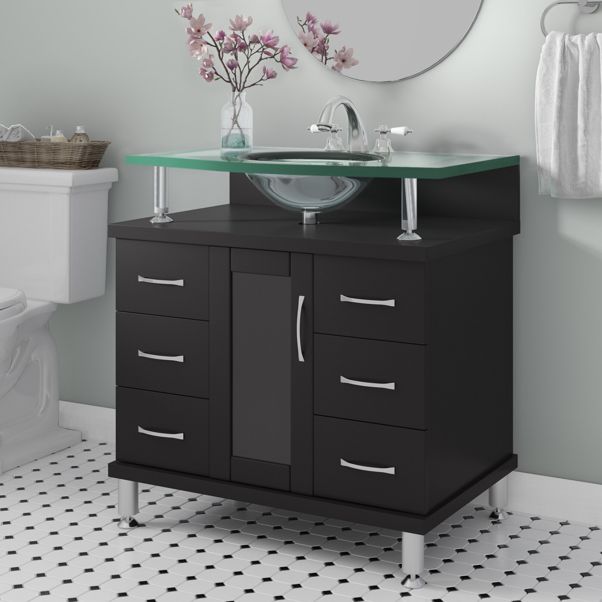 Latitude Run Runge 32 Single Bathroom Vanity Set With Tempered Glass Top Reviews Wayfair