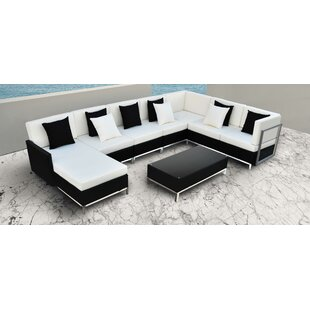 Finis 6 Piece Rattan Sectional Set with Cushions