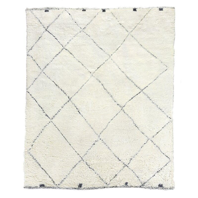 Exquisite Rugs Moroccan Geometric Hand Knotted Wool Ivory Area Rug Wayfair