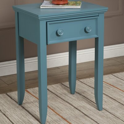 Baileyville 1 Wood Drawer Nightstand Color: Teal by Beachcrest Home