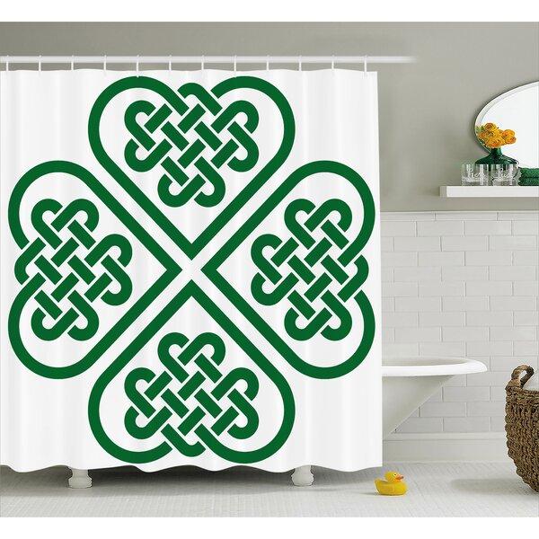 Latitude Run Calibos Monochrome Four Leaf Clover Flower Authentic Timeless Form Gaelic Decor Single Shower Curtain Wayfair