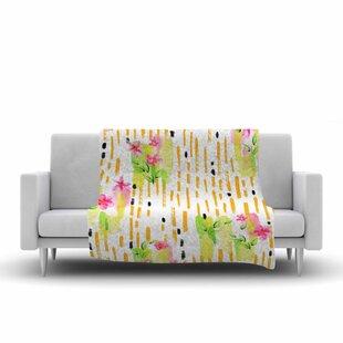 Best Victoria Krupp Watercolor Garden Floral Fleece Blanket ByEast Urban Home