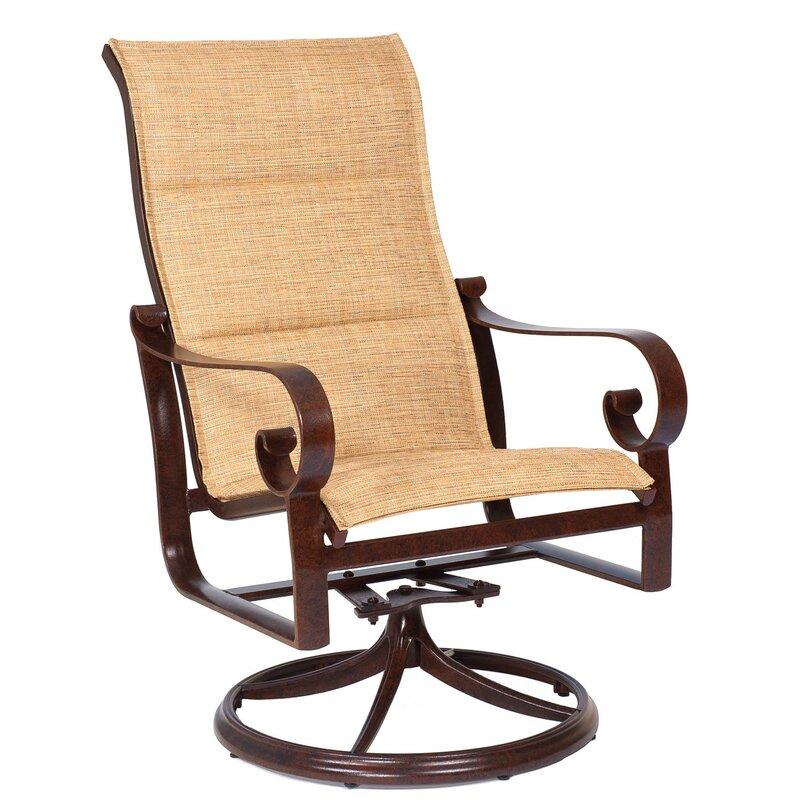 Woodard Belden High Back Rocker Swivel Patio Dining Chair ...