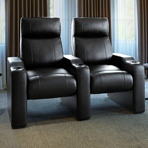 Leather Manual Rocker Recline Home Theater Row Seating (Row of 2) by Freeport Park