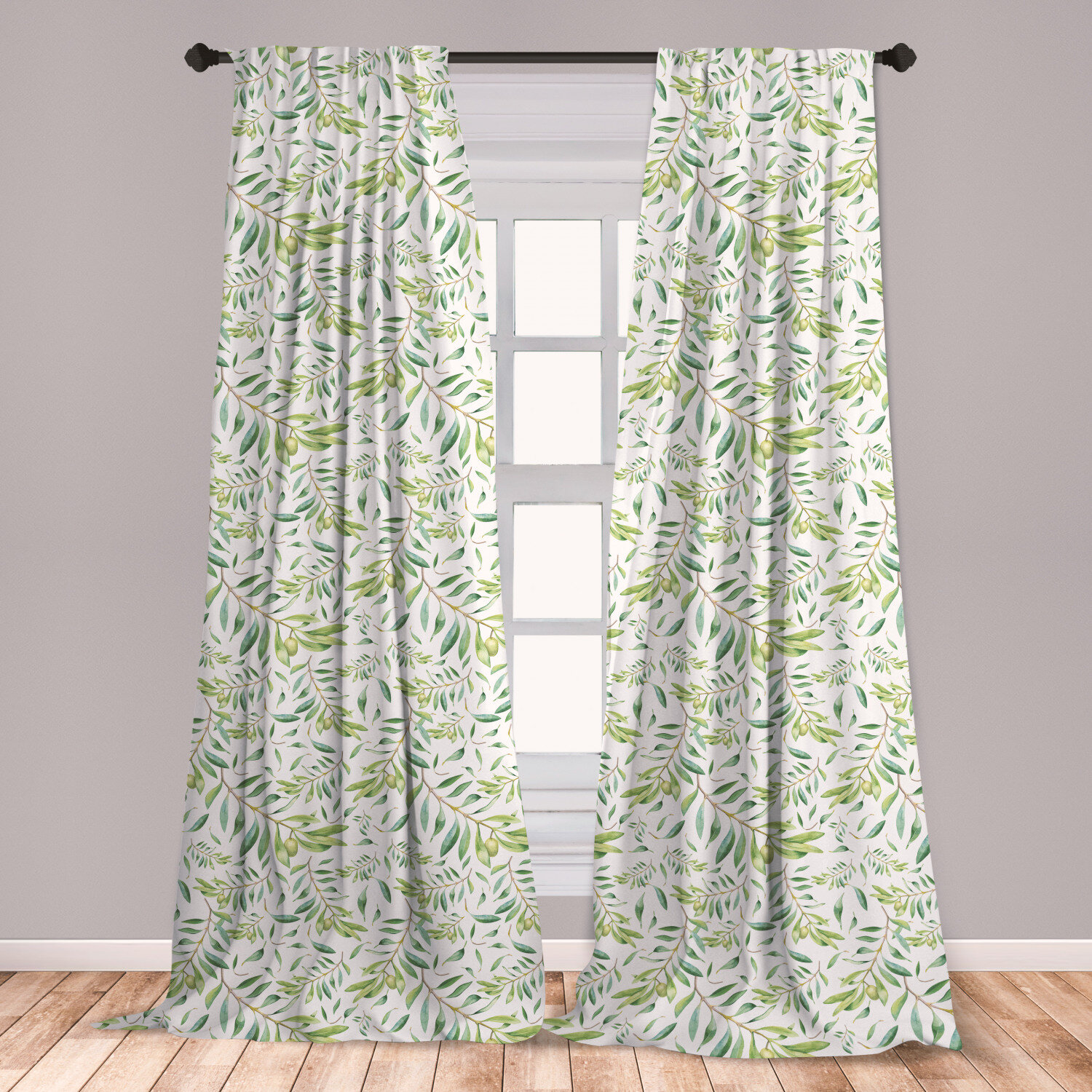 East Urban Home Ambesonne Green Leaf 2 Panel Curtain Set Watercolor Style Olive Branch Mediterranean Tree Organic Lightweight Window Treatment Living Room Bedroom Decor 56 X 63 Avocado Green Wayfair