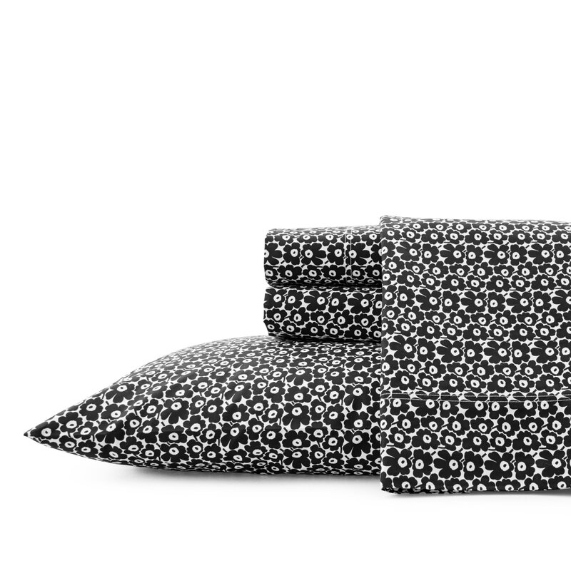 Marimekko Pikkuinen Unikko 200 Thread Count Floral 100 Cotton Sheet Set Wayfair