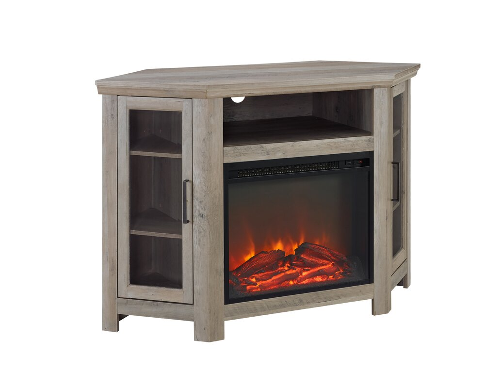 Brambly Cottage Andreas Wood Corner Fireplace Media TV Stand for ...