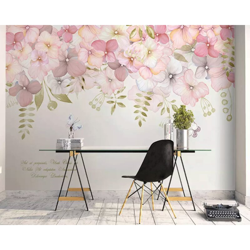 Isabelle Max Tracie Hydrangea Flower Blossom Textile Texture Wall Mural Wayfair