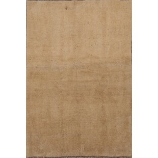 Find a One-of-a-Kind Cowley Gabbeh Shiraz Persian Hand-Knotted 4' 8'' x 6' 9'' Wool Biege Area Rug By Isabelline