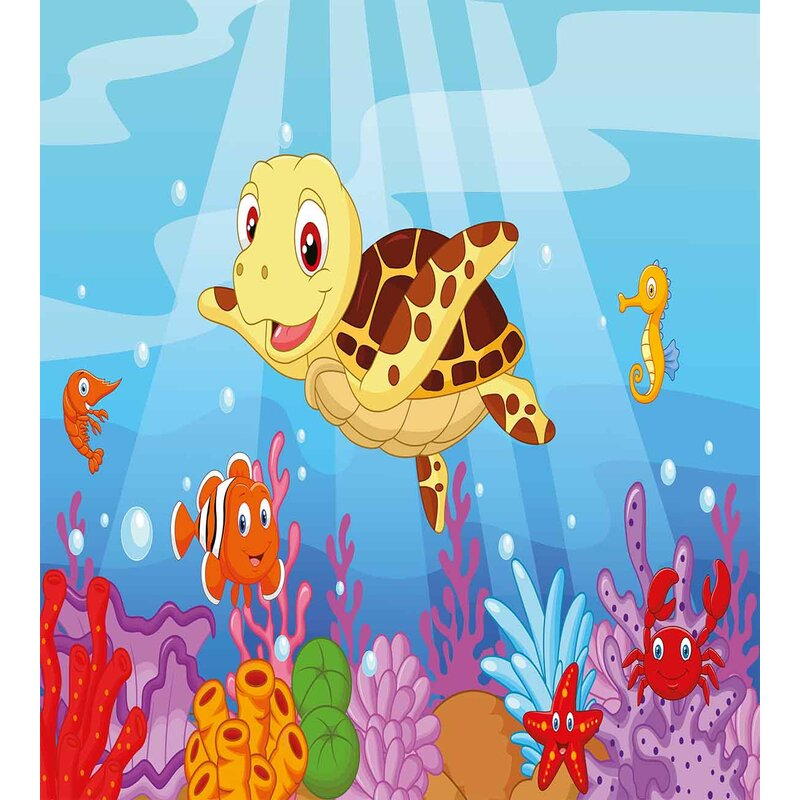 Ambesonne Funny Adorable Cartoon Style Underwater Sea Animals Baby