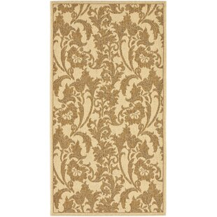 Short Creme / Brown Indoor/Outdoor Area Rug