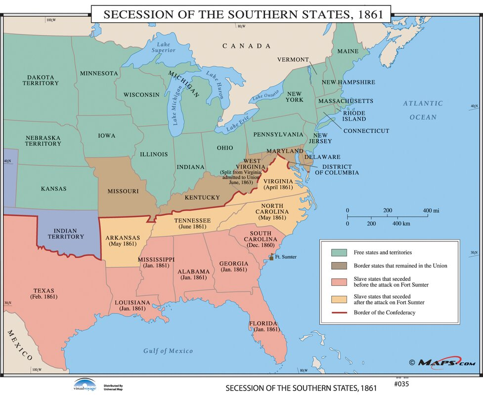 Universal Map US History Wall Maps Secession Of The Southern - Secession map of us