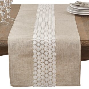 Arvin Lace Country Cottage Linen Blend Table Runner