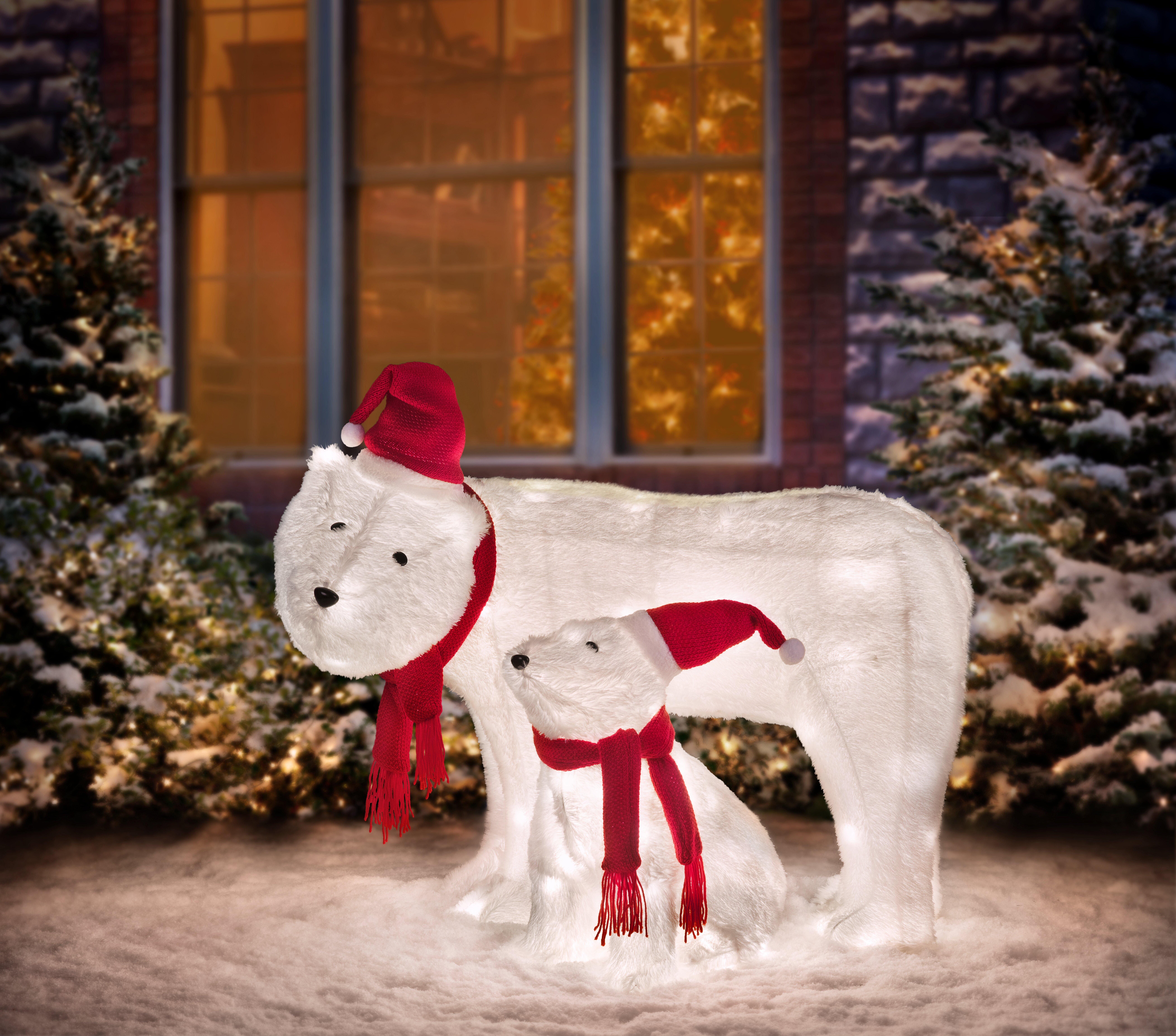 2 Piece Polar Bear Lighted Display Set