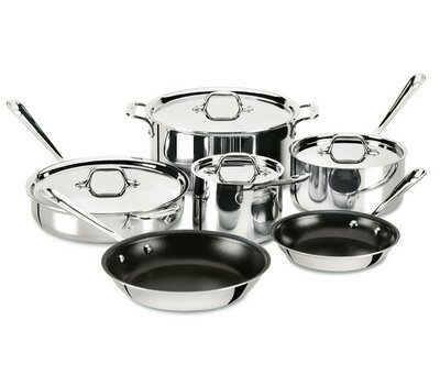 D3 10-Piece Non-Stick Stainless Steel Cookware Set All-Clad
