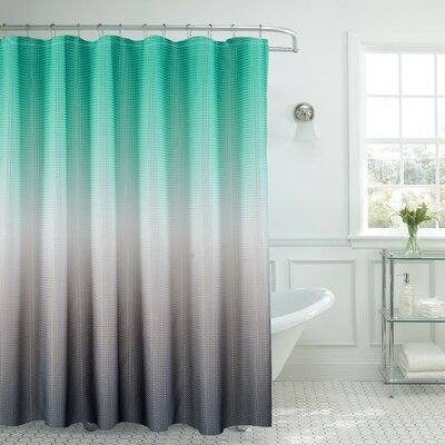 Bath Fusion Ombre Shower Curtain Color: Turquoise/Gray