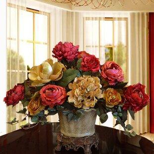 Elegant Centerpiece with Hydrangea, Magnolia and Rose