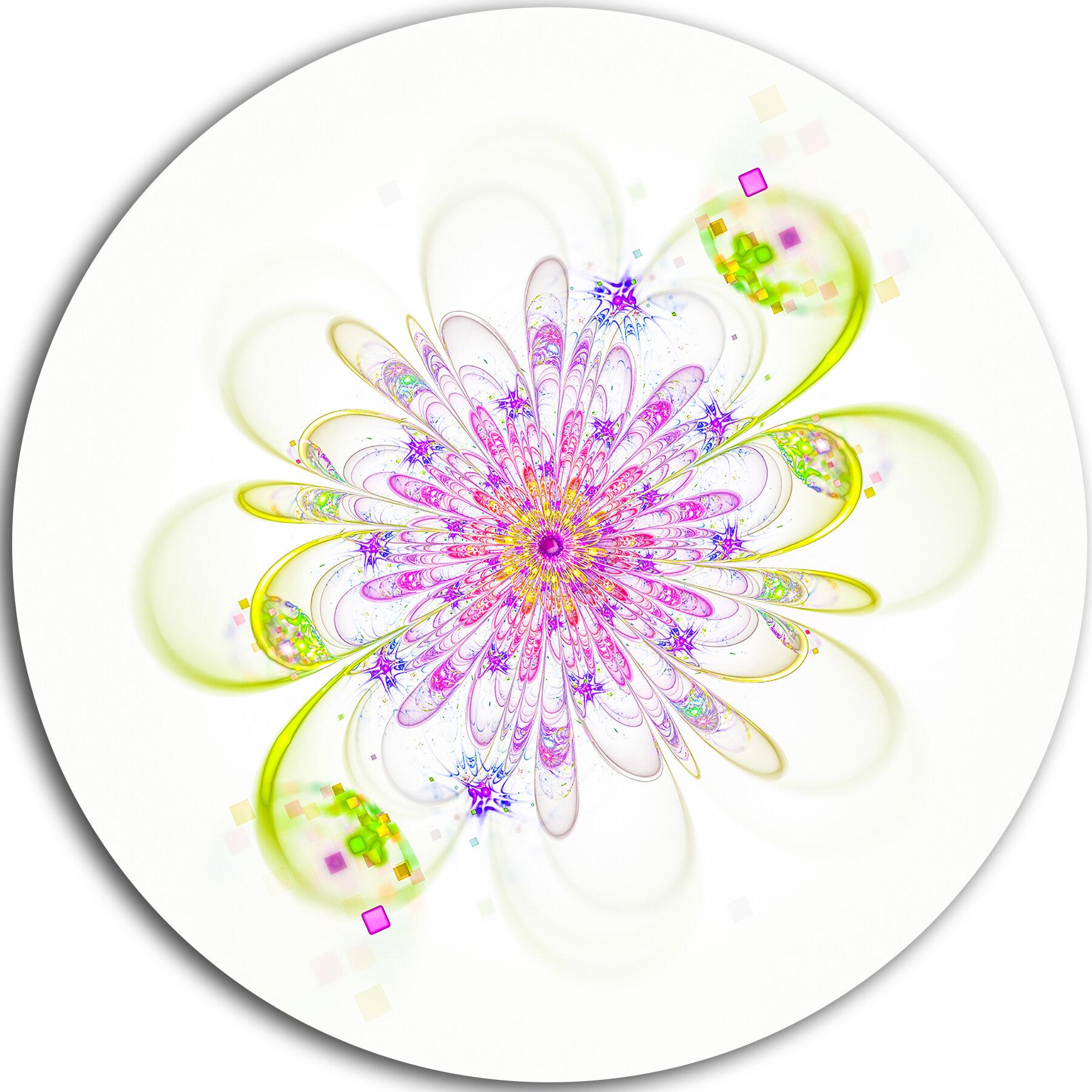 Designart Purple Green Glowing Fractal Flower Graphic Art Print On Metal Wayfair