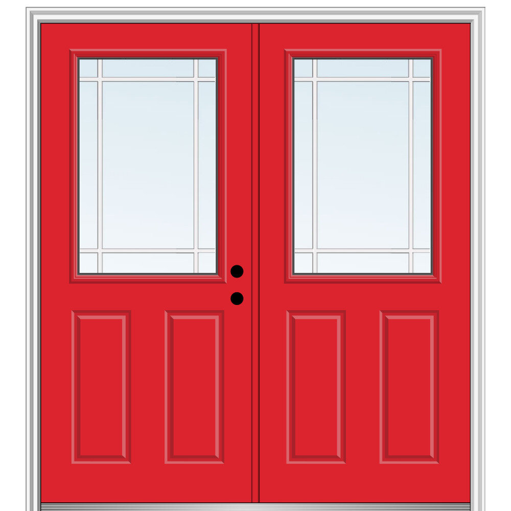 Verona Home Design Internal Prairie Grilles Primed Fiberglass Prehung Front Entry Doors Wayfair