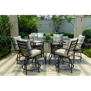 Emme High Swivel 8 Piece Dining Set with Cushions