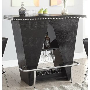 Gillan Bar Table with Wine Storage by Everly Quinn