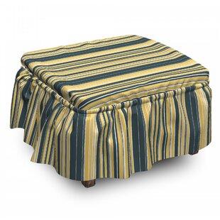 Geometric Retro Vertical Lines 2 Piece Box Cushion Ottoman Slipcover Set By East Urban Home