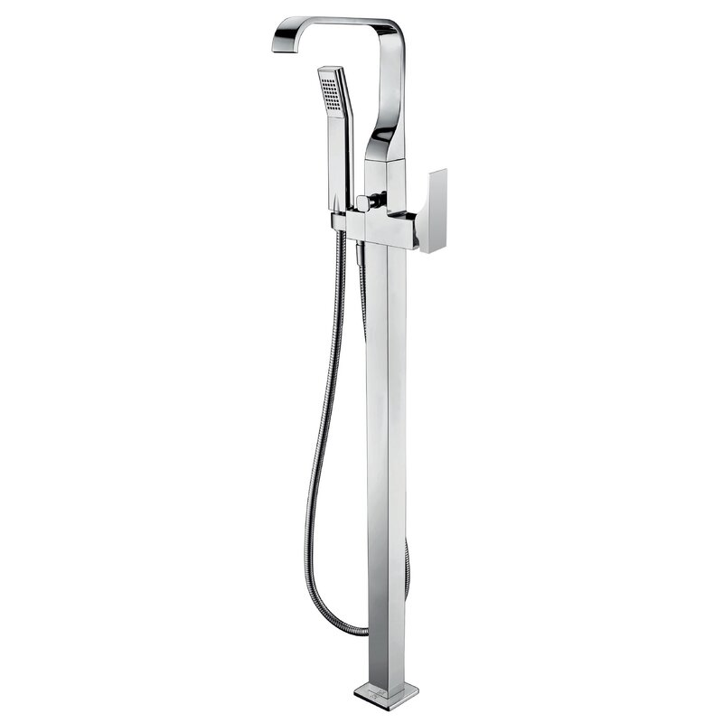 Alfi Brand Single Handle Floor Mount Tub Filler Mixer With Hand Held