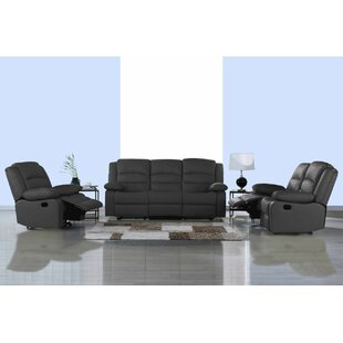 Worthing Classic Reclining 3 Piece Leather Living Room Set by Ebern Designs