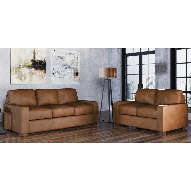 Westland And Birch Blanca 2 Piece Leather Living Room Set Wayfair